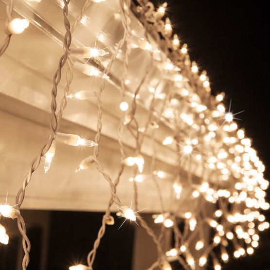 150 Clear Twinkle Icicle Lights - White Wire | Icicle lights ...