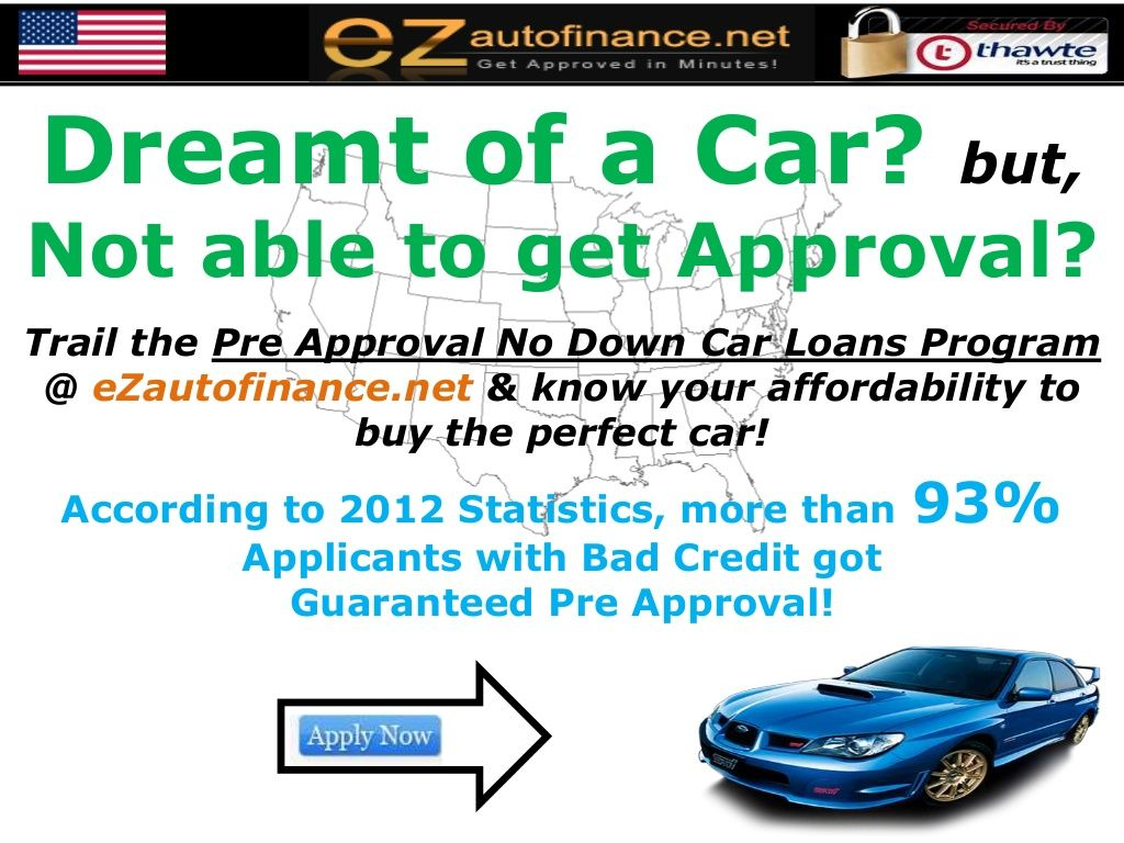 Pre Approval Program For No Down Payment Auto Loans Getting Pre Qualify For 0 Down Payment Auto Loans With Poor Credit Score Car Loans Bad Credit Pre Qualify