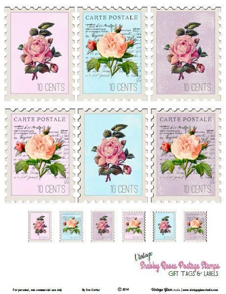 Vintage Shabby Roses Postage Stamps - Free Printable Download