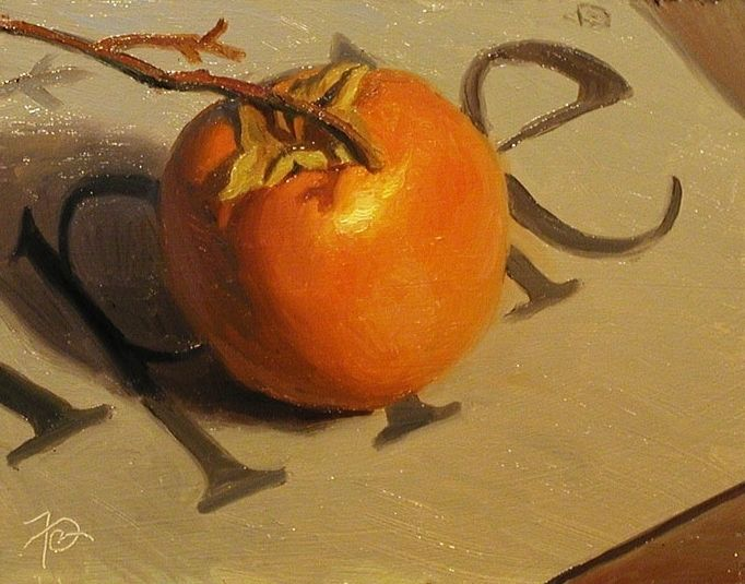 Persimmon on an Apple by Frank Ordaz Oil ~ 5 x 7