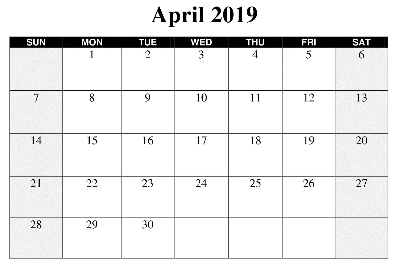 Large April 2019 Calendar Template Calendar Template Printable