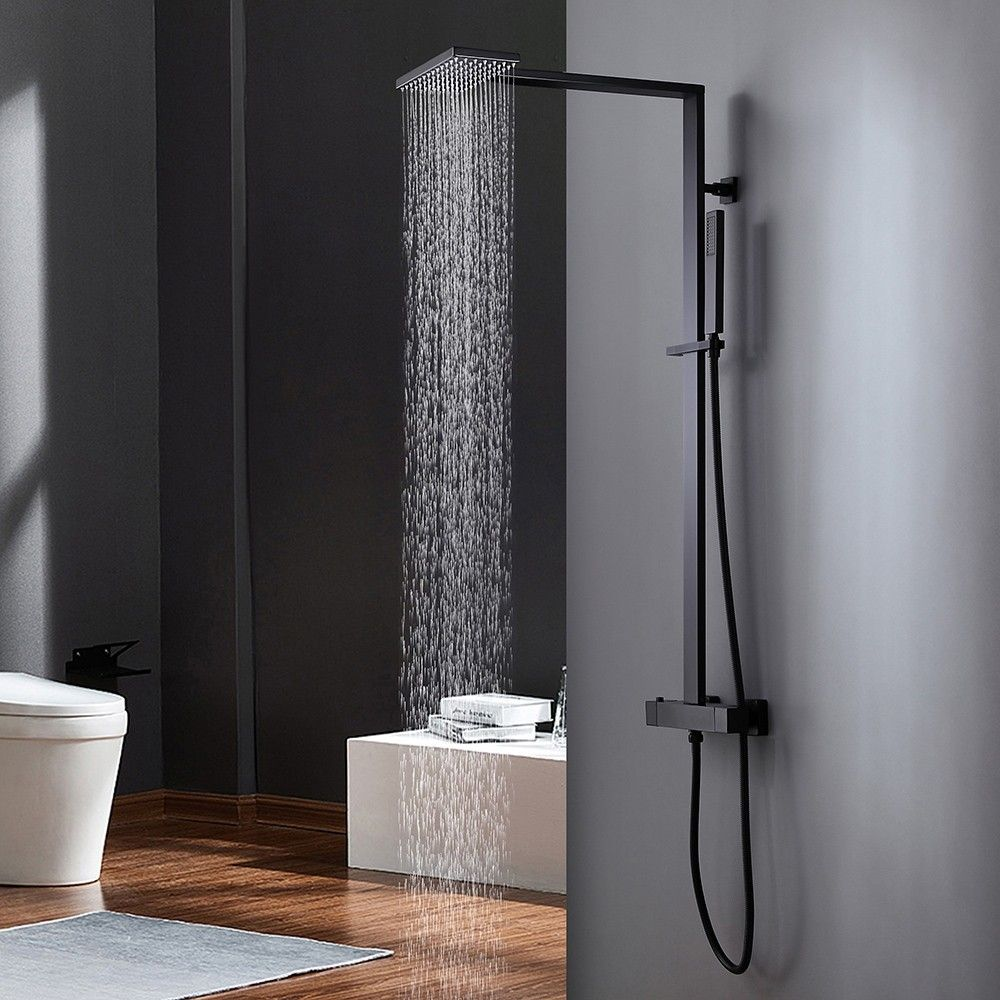 Thermostatic Shower Faucet Rain Shower And Hand Shower Exposed Shower System In Matte Black Rain Shower Head Shower Systems Shower Fixtures Shower system with hand shower