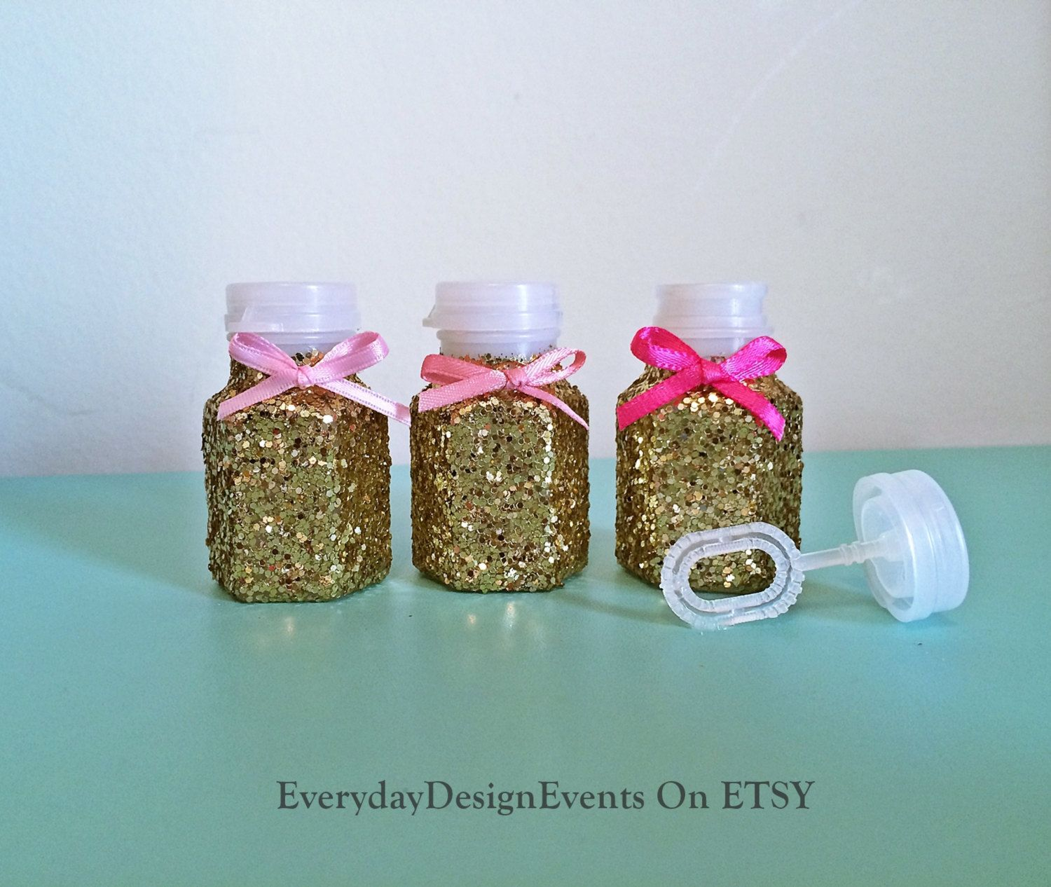 24 Pink And Gold Bubbles Wedding Favors Wedding Bubble Favors Ce