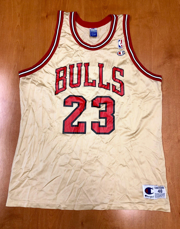 Vintage 1998 Michael Jordan Chicago Bulls Champion Gold Jersey Size 48 nba  finals hat shirt scottie pippen authentic air jumpman 45 by  BroadwayVintageLLC on ... 3c087baa6