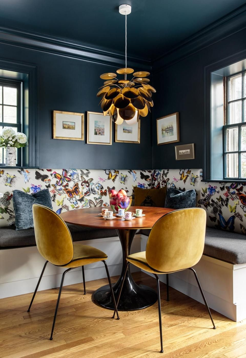 In the eating area farrow  ball  hague blue went on walls and ceiling  fresh modern treatment that adds richness depth also brookline home turning leaky pipe into redesign rh pinterest