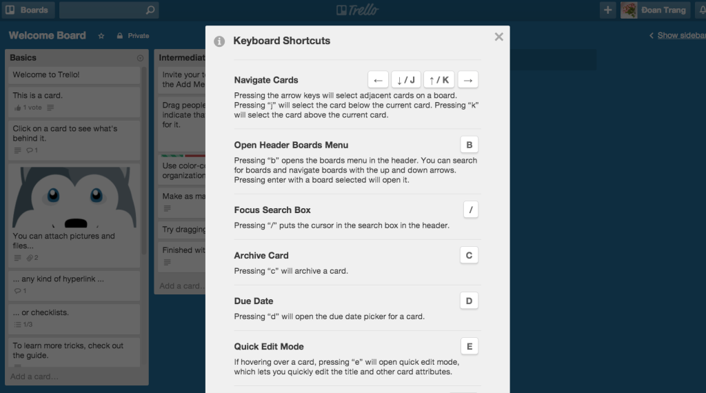 trello shorcuts Evernote, Arrow keys, boards