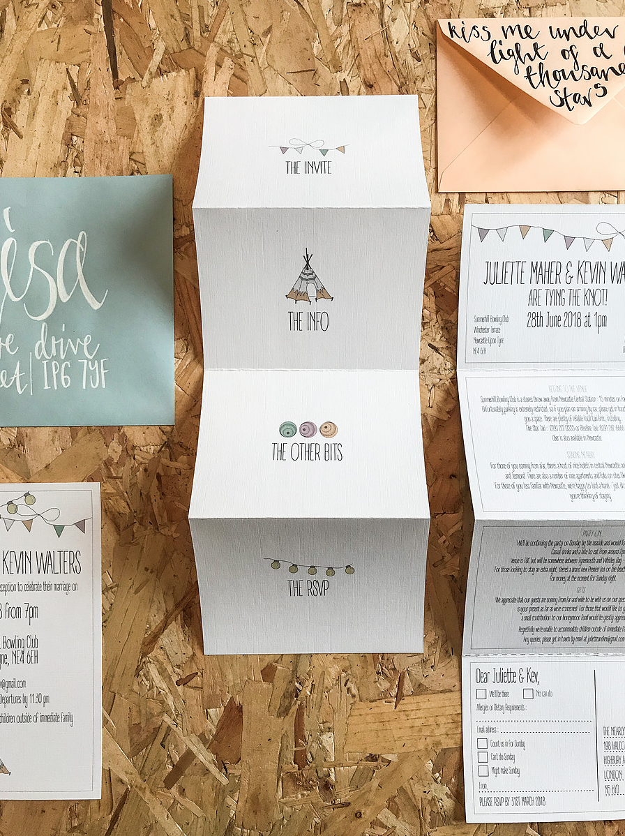 fold out wedding invitation with tipi bunting and festoon lighting