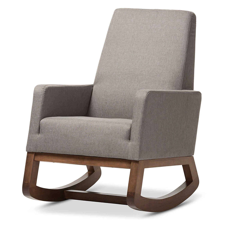 Upholstered rocking chairs amazon baxton studio yashiya mid century retro modern fabric