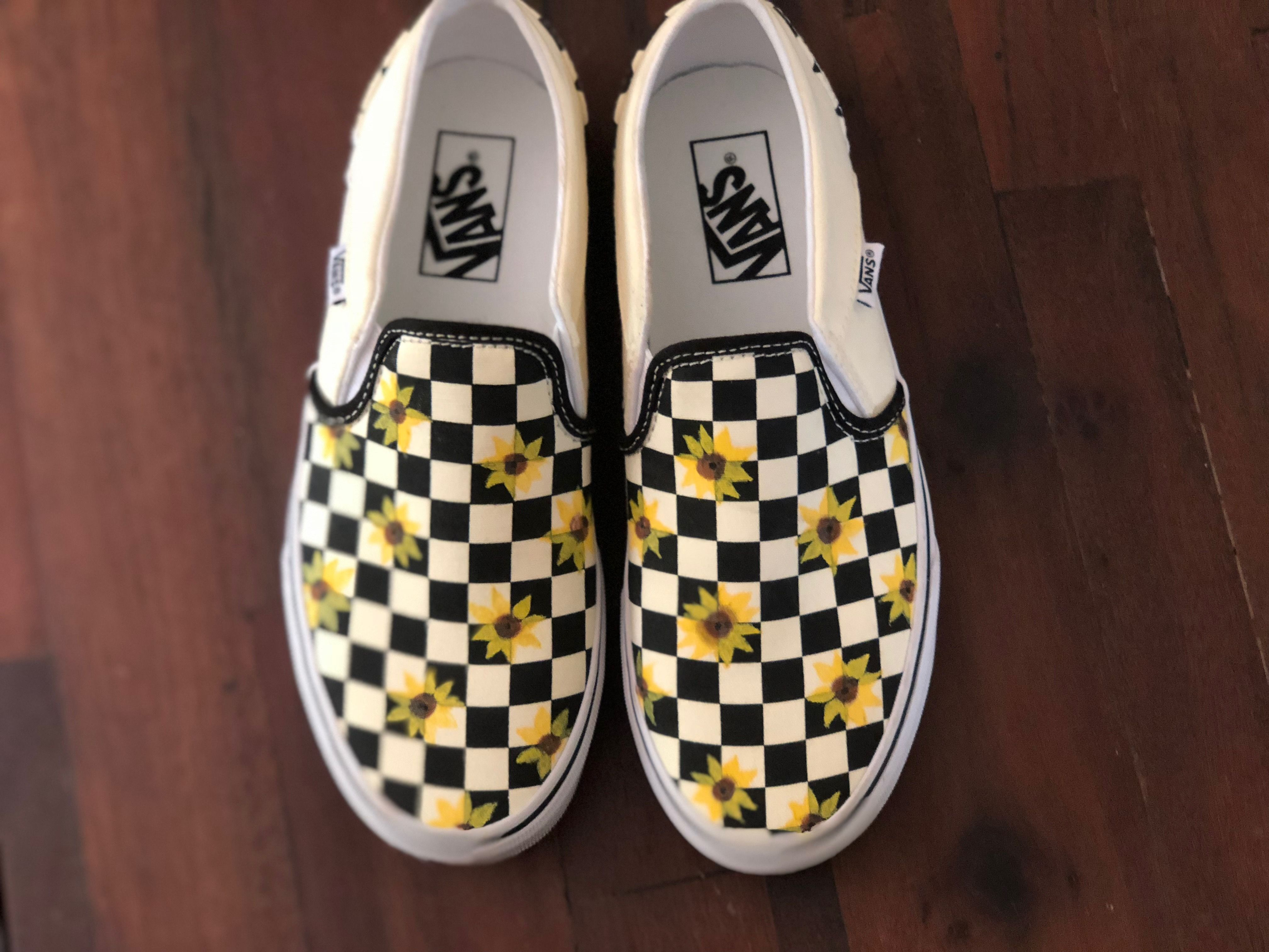Sunflower slip on vans, Painted shoes