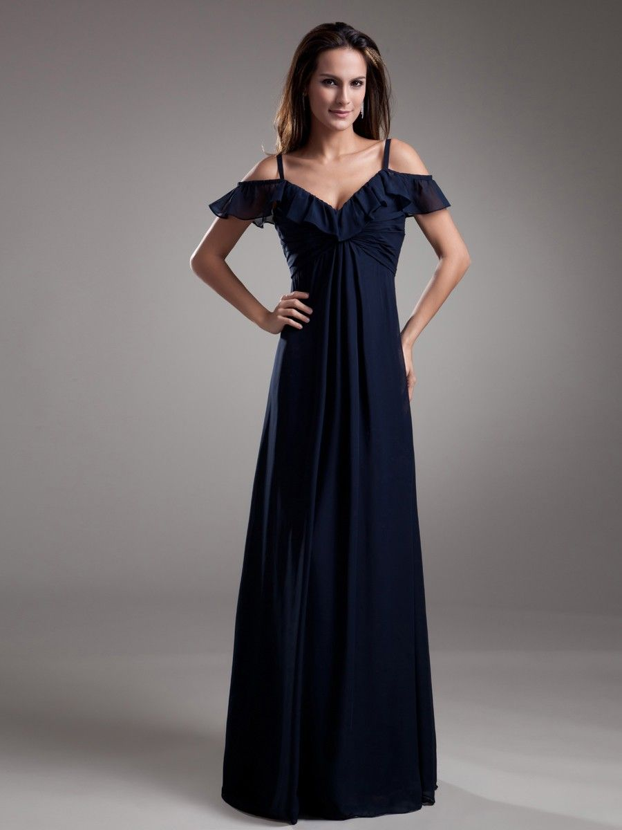 Chiffon spaghetti straps floor length ruching prom dress at