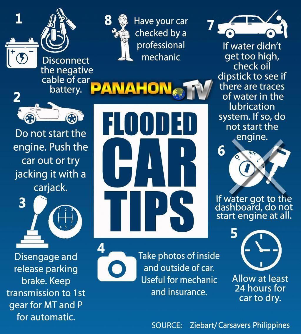 Flooded car tips Car care tips, Car insurance tips
