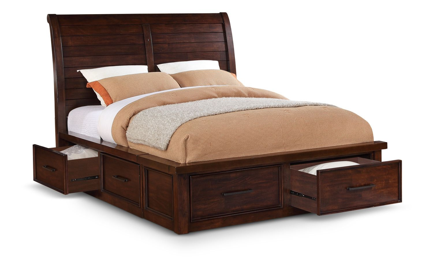 Delray king sleigh bed with storage and awesome bedding