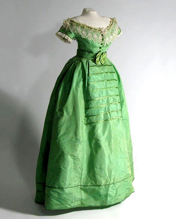 """Emerald Green"""" dress colored with arsenic (c. 1860–1865) The green ..."""