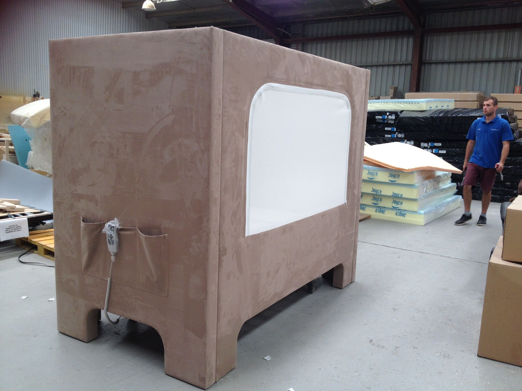 A special made custom hi lo hospital bed for a disabled
