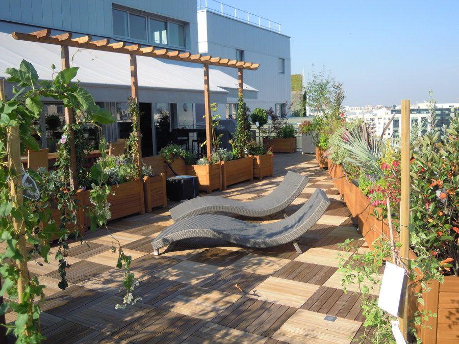 terraza miami con jardineras grandes