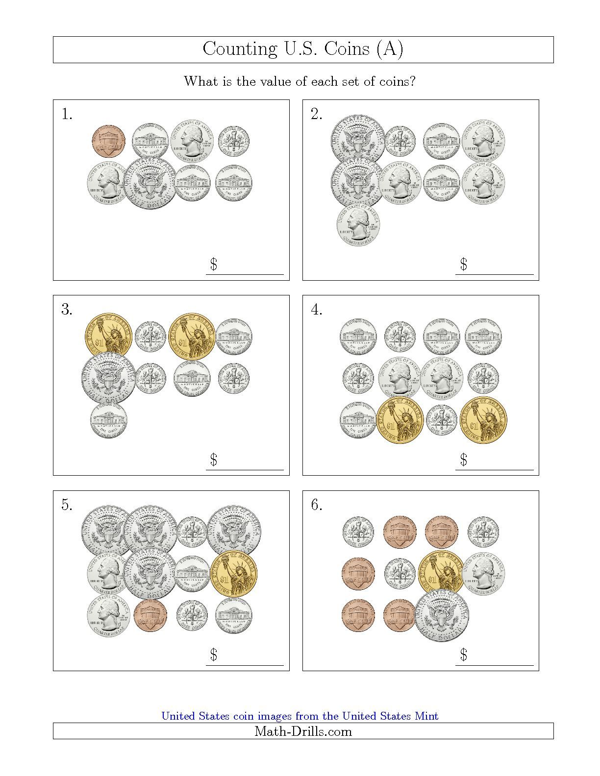 worksheet Value Of Coins Worksheet counting u s coins including half and one dollar a math worksheet freemath