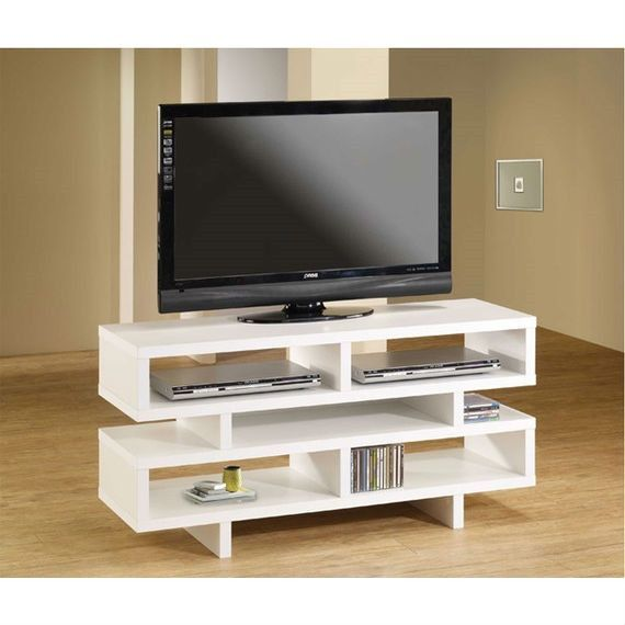 Modern Style Living Room TV Stand in White Wood Finish | Products