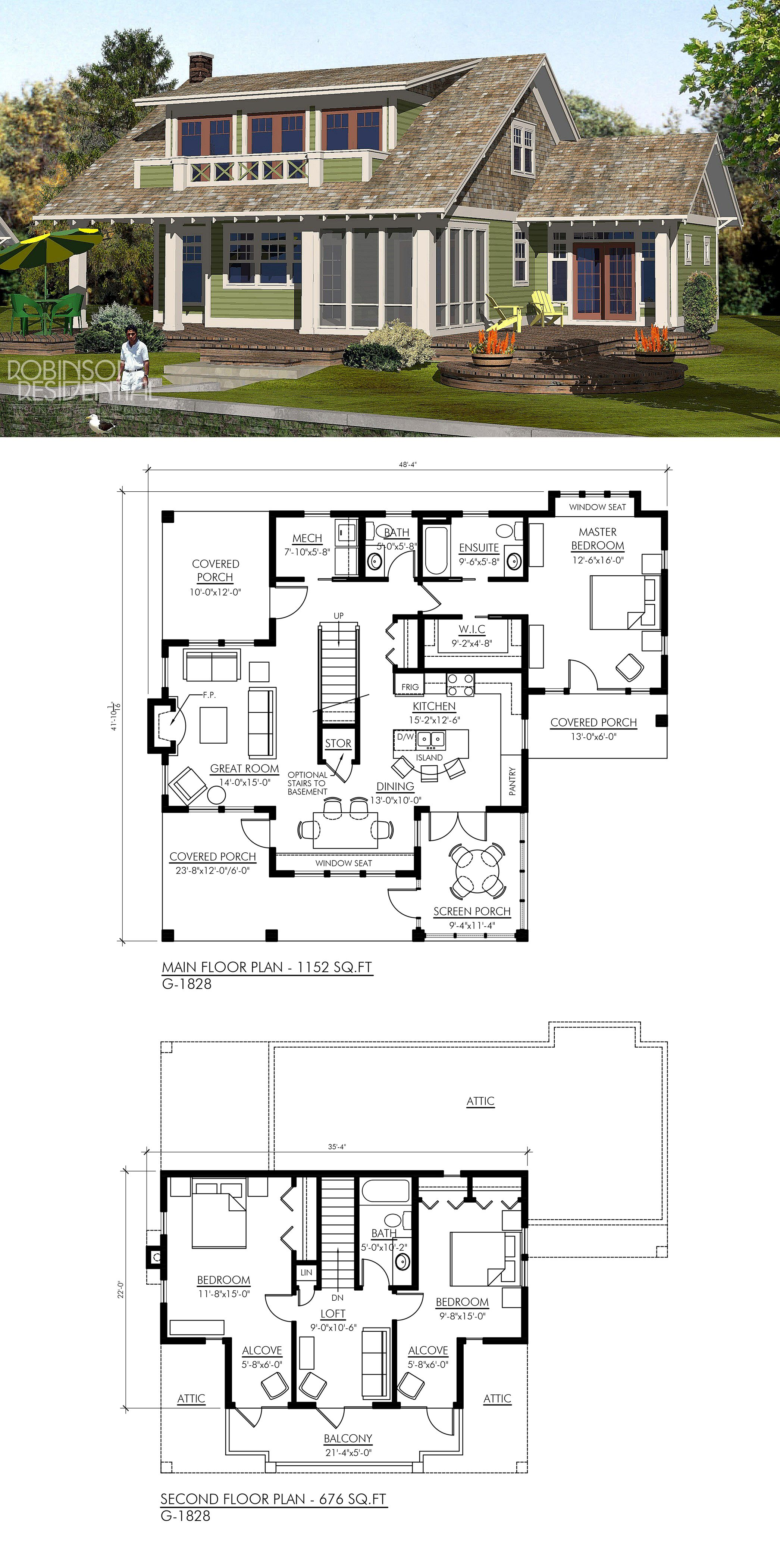 Craftsman G 1828 Lake House Plans Cottage Floor Plans
