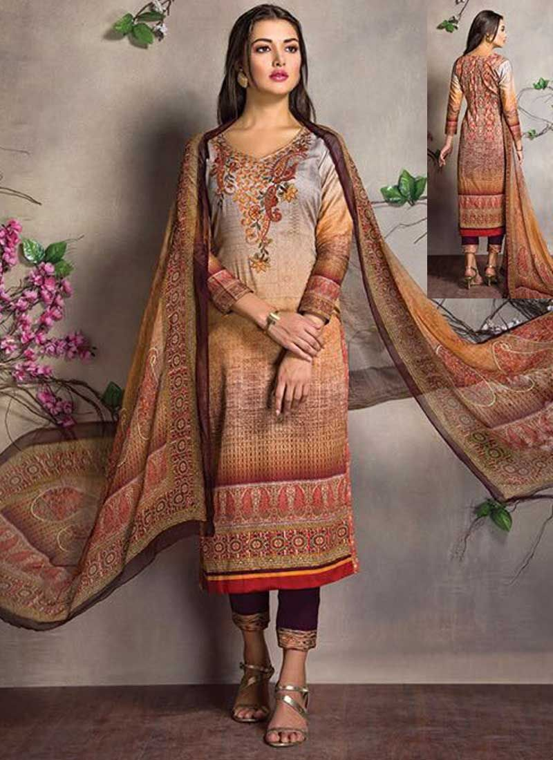 5a055fea18 Cream Embroidery Work Cotton Satin Printed Fancy Designer Pakistani Suit