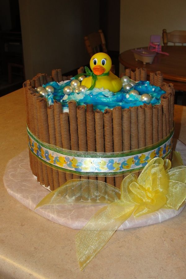 baby shower cake ducky in a wash tub barrel ( double layered ...