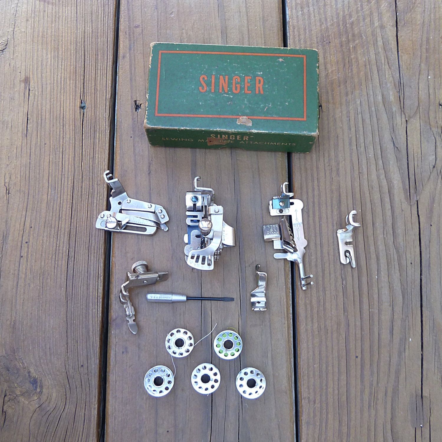 Singer Sewing Machine attachments in great condition with box and ...