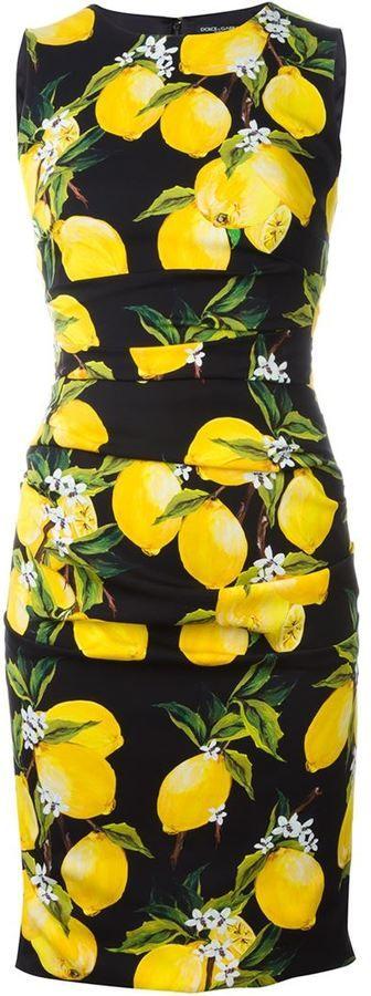 e0a41089a Dolce & Gabbana lemon print dress | Fruits and Fashion | Lemon print ...