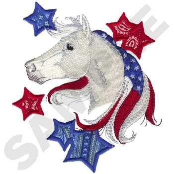 Dakota Collectibles Embroidery Design Patriotic Horse Applique 575