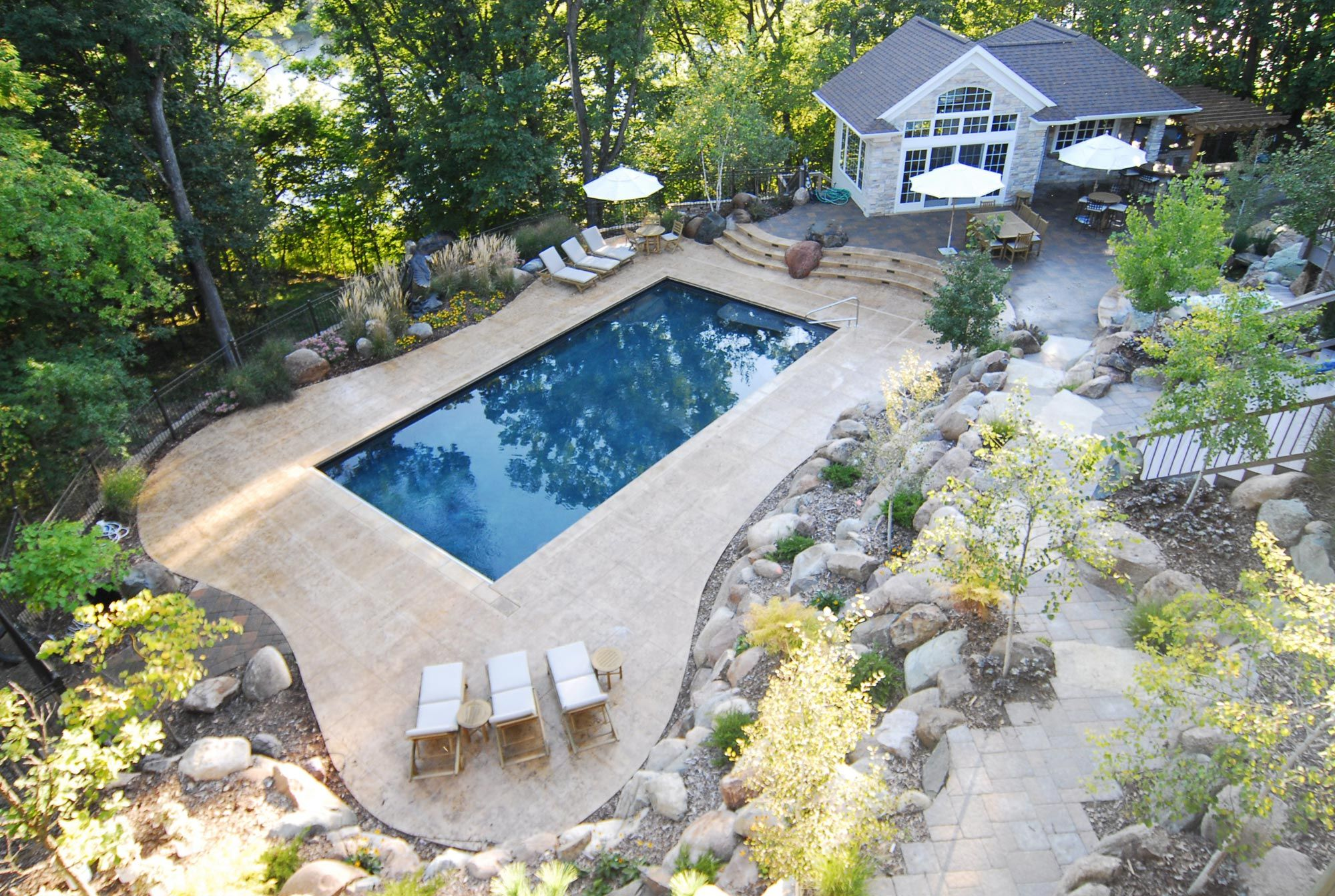 Pooltech Galleries Rectangle Pool Backyard Pool Landscaping Pool Landscaping