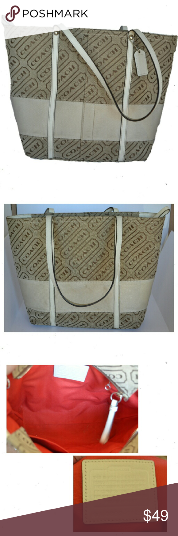 "Coach Medium Tote Medium Tote tan canvas base with brown printed Coach logo. Two leather handles. Wide Creme band accent at base of tote. Hangtag. Red fabric interior, one inner zip pocket and small inner storage compartments. Full zip closure. H10"" W 13"" D 3"" SD 8"". EUC. Coach Bags Totes"