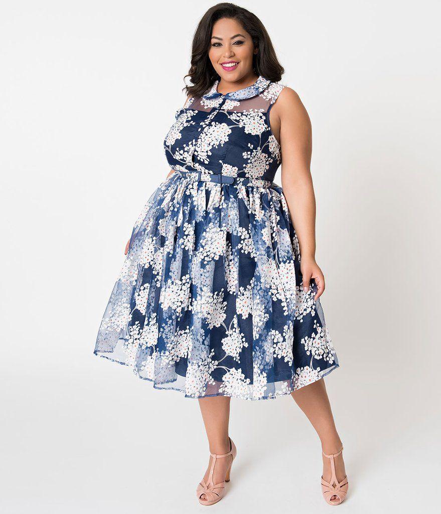 Unique Vintage Plus Size 1950s Style Blue White Floral Organza Georgia Swing Dress Plus Size Spring Dresses Modest Spring Dresses Floral Blue Dress [ 1023 x 879 Pixel ]