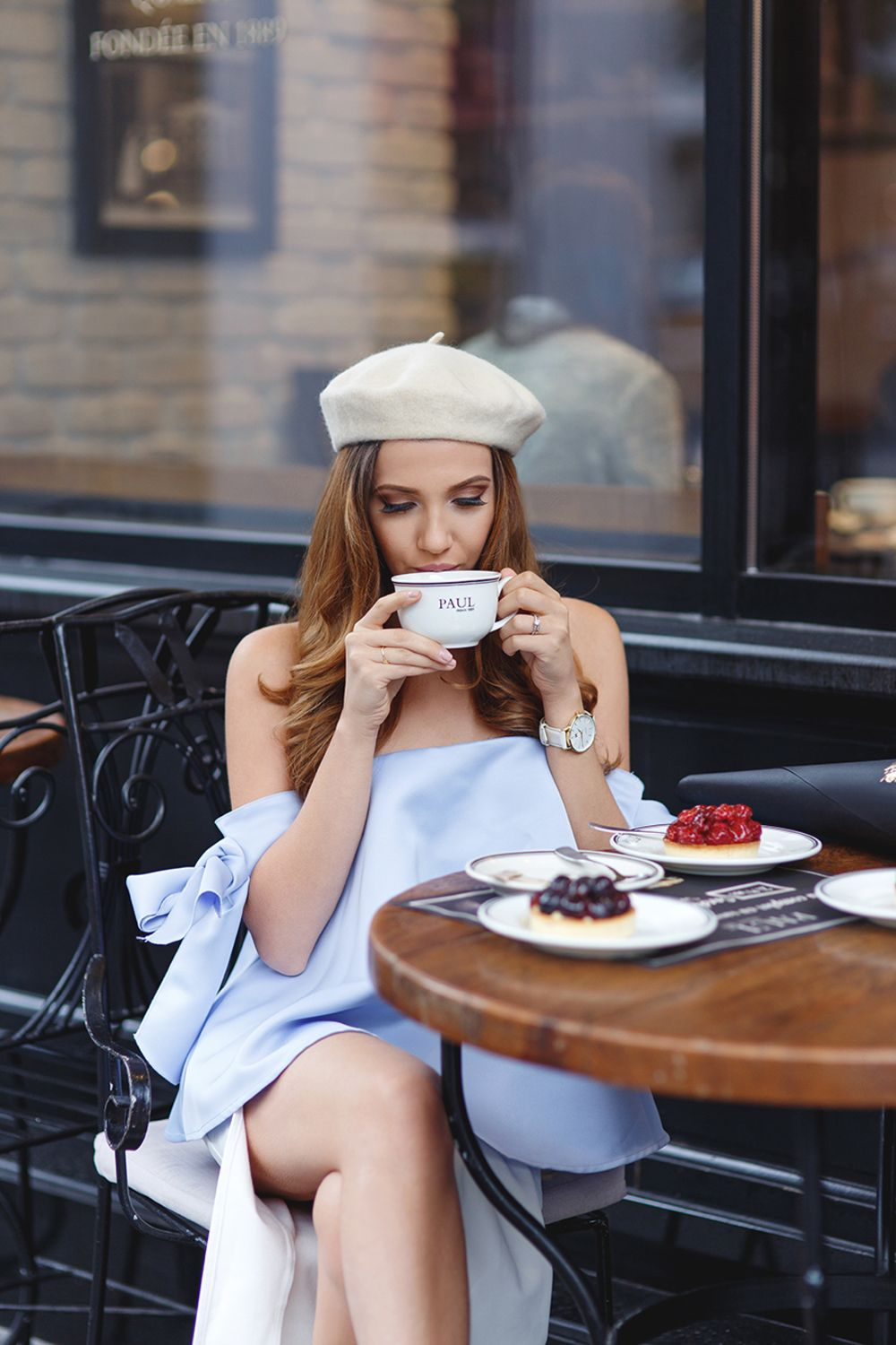 d81bbd699277 5 Parisian Cafes That Might As Well Have A Dress Code - Cute French Style  Beige Beret And Off The Shoulder Pale Blue Mini Dress
