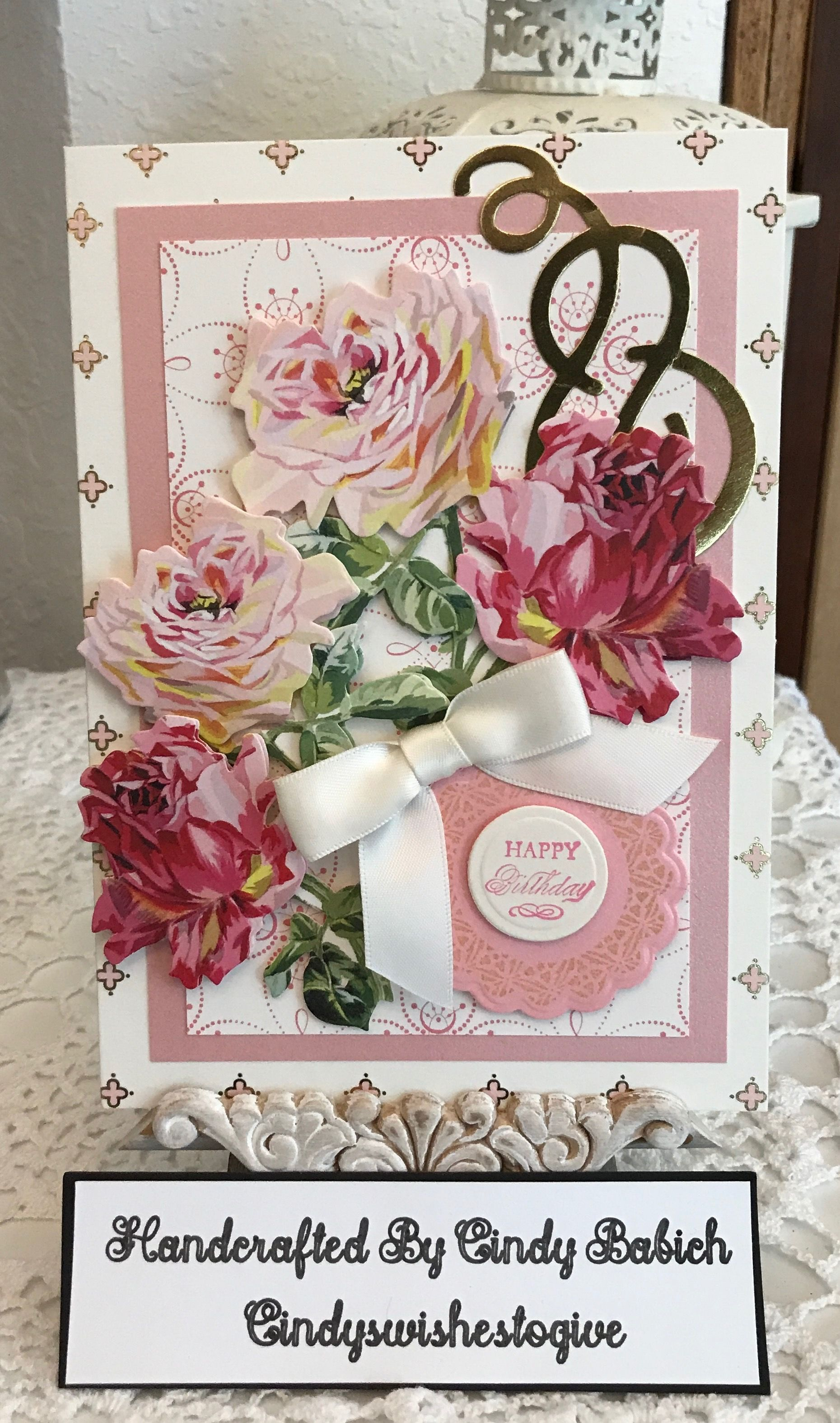 birthday card  made with anna griffin blooming decoupage