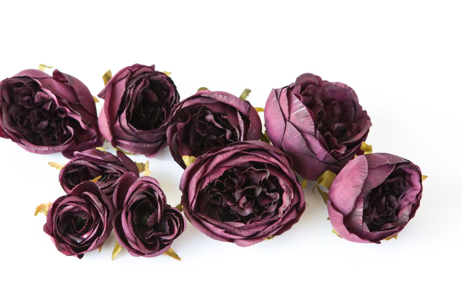 Set of 9 small to large cabbage roses in plum dark purple silk set of 9 small to large cabbage roses in plum dark purple silk artificial flowers read description item 0967 by simplyserrafloral on etsy mightylinksfo