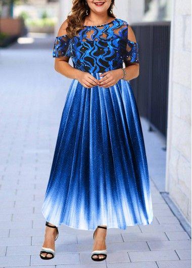 Plus Size Lace Panel Cold Shoulder High Waist Dress   Rosewe.com – USD $38.28
