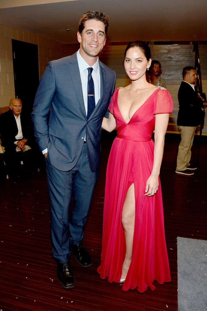 #5 Aaron Rodgers: Dating a Hollywood actress with good style credentials has given Aaron Rodgers the necessary red carpet experience to select tailored outfits with ease. His choices are safe, but sound. [Photo by Frazer Harrison/ACMA2014/Getty Images for ACM]
