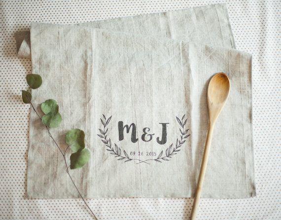 Linen Wedding Anniversary Gift Ideas: Personalized Linen Kitchen Tea Towel, Handmade Pre-washed