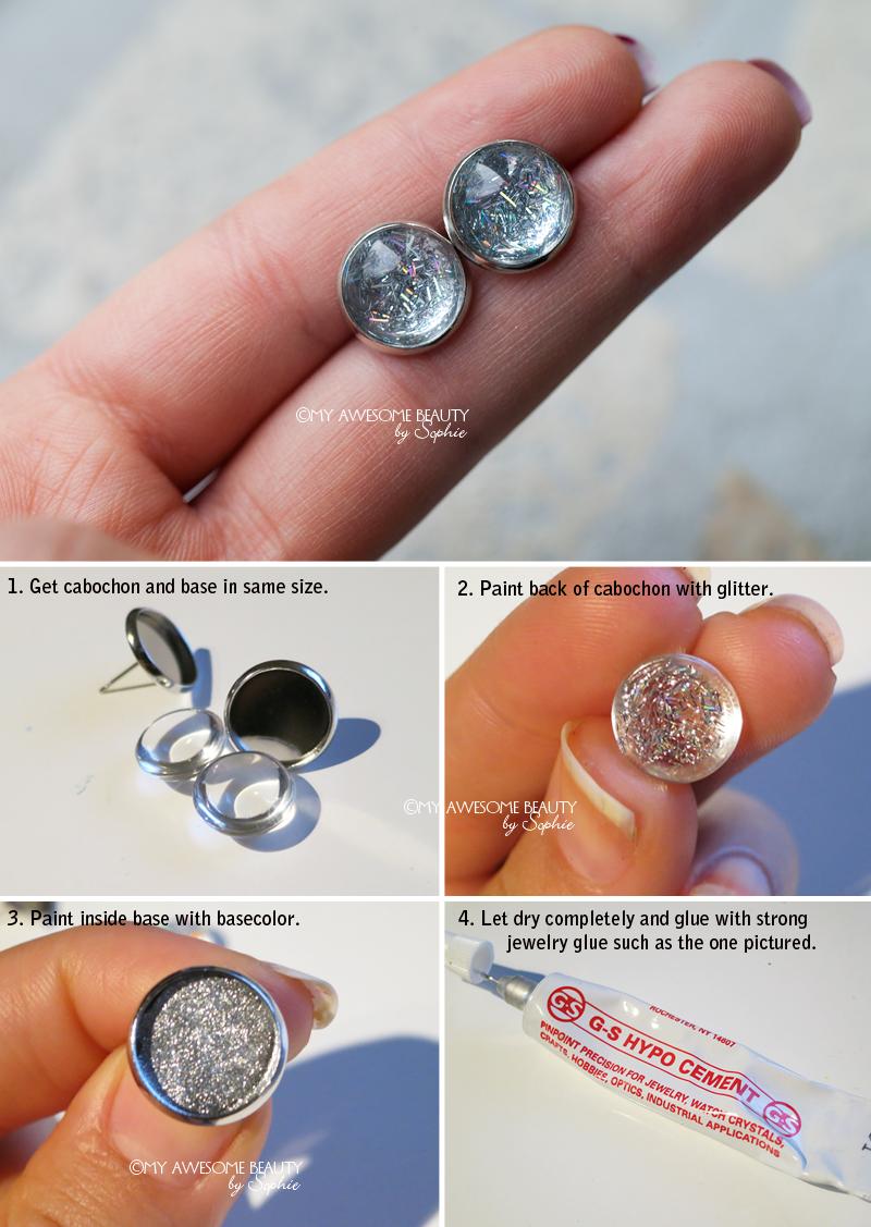 diy stud earrings - glitter nail polish, settings and glue | dyi
