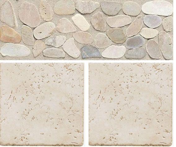 Del Conca 6 X Rialto White Porcelain Wall Tile With American Olean 12 4 Highland Ridge Light Riverstone Pebble Thru Body Listello
