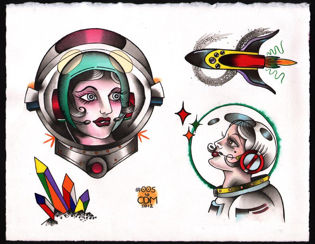 Ageless arts space astronaut girls tattoo flash caitlin for Ageless arts tattoo