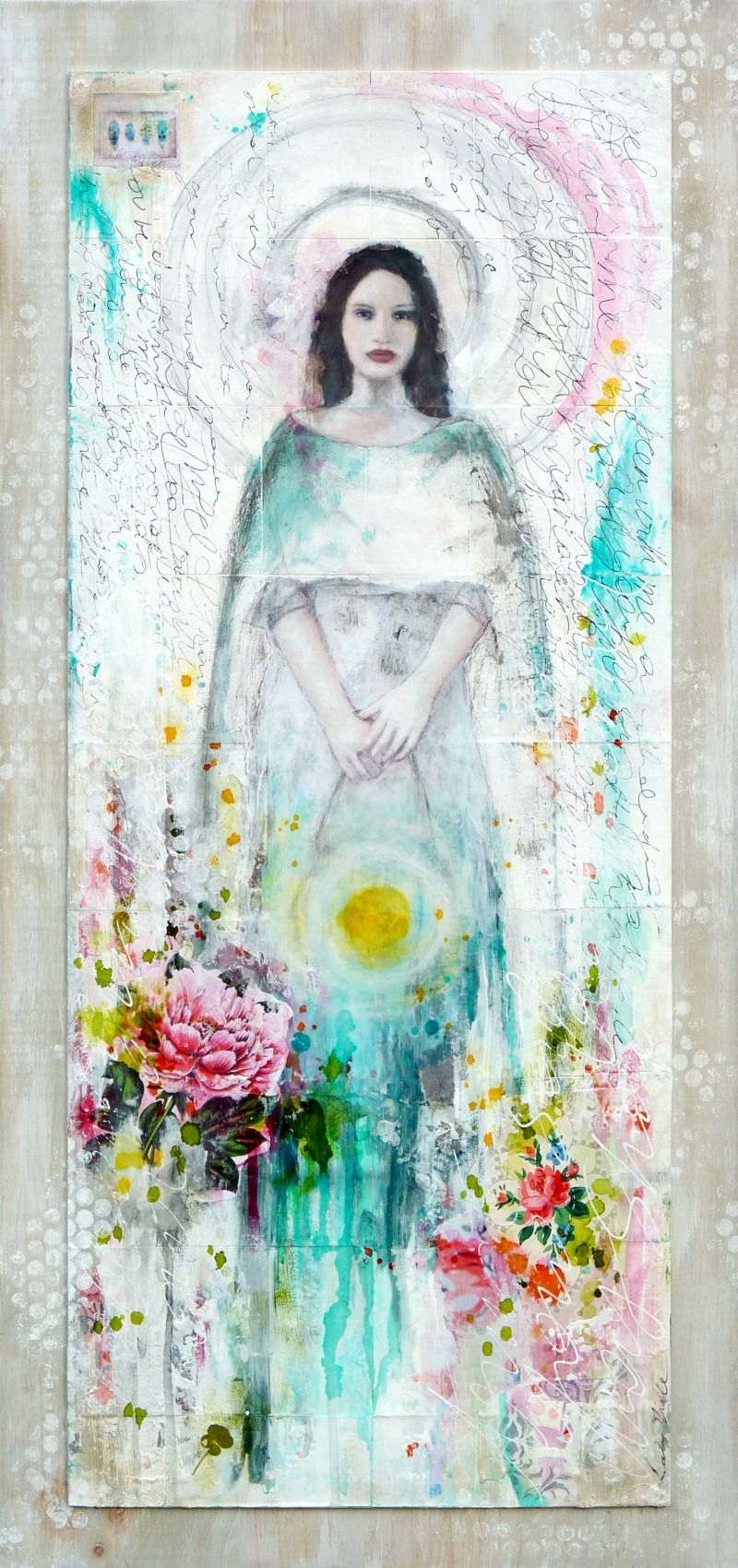 Guardian of Dawn : mixed media painting by Laly Mille