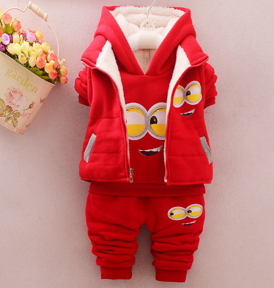 winter baby set Baby Girl Boy Clothes Thickened Minion Sets Kids Jackets  T Shirt Pants 3 Pcs Sets