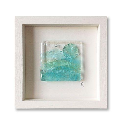 BOX FRAMED FUSED PASTEL SEASCAPE GLASS ARTWORK