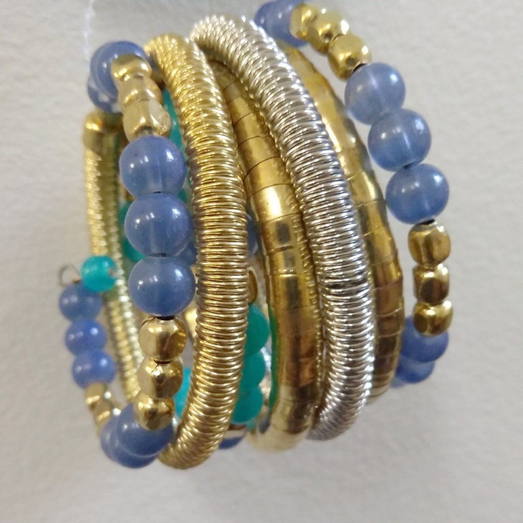 Gold-Silver Tone-Brass Coiled Bracelet With Faceted Beads