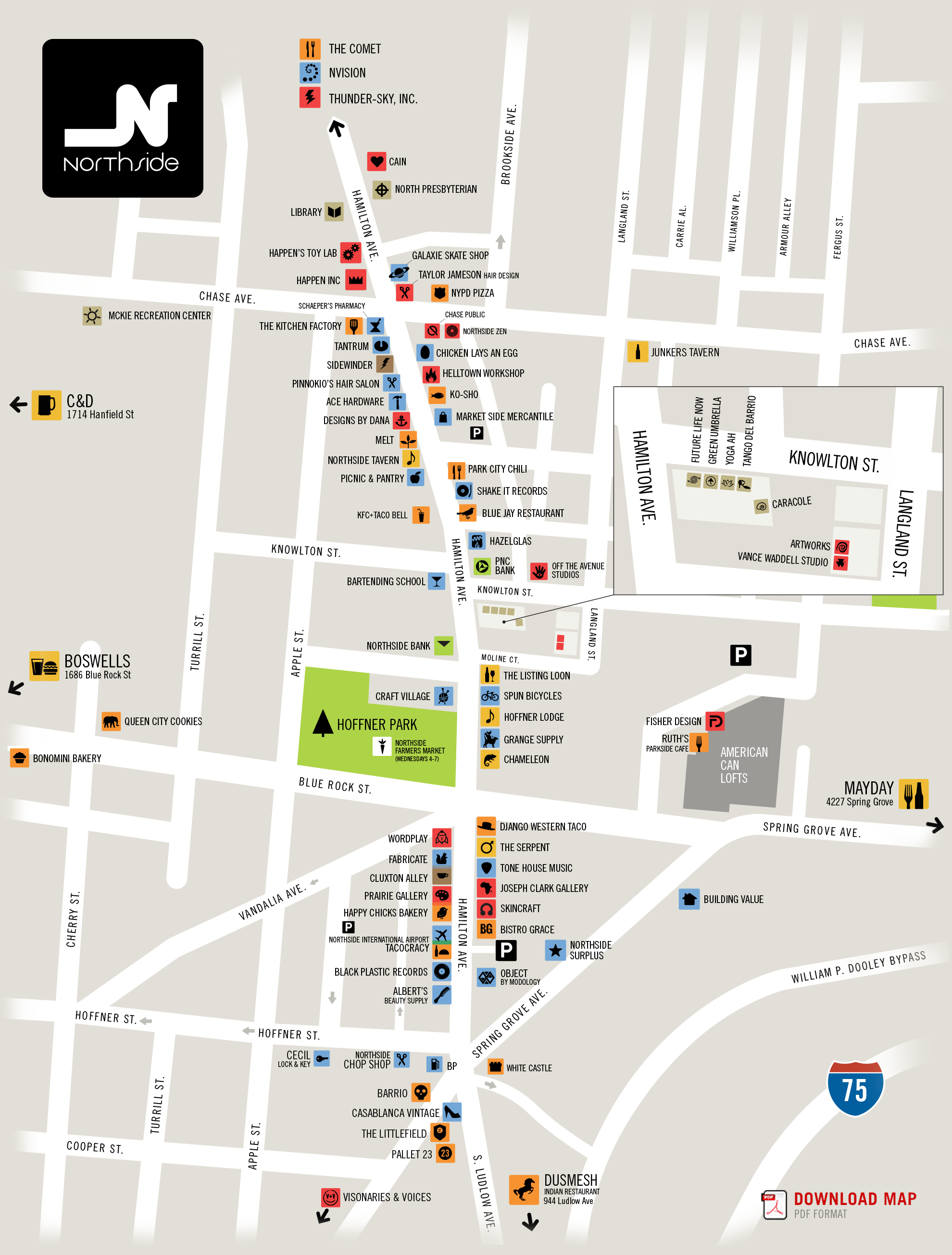 map of Northside, Cincinnati by Chris Gl   cartographic ... Cincinnati S Map on