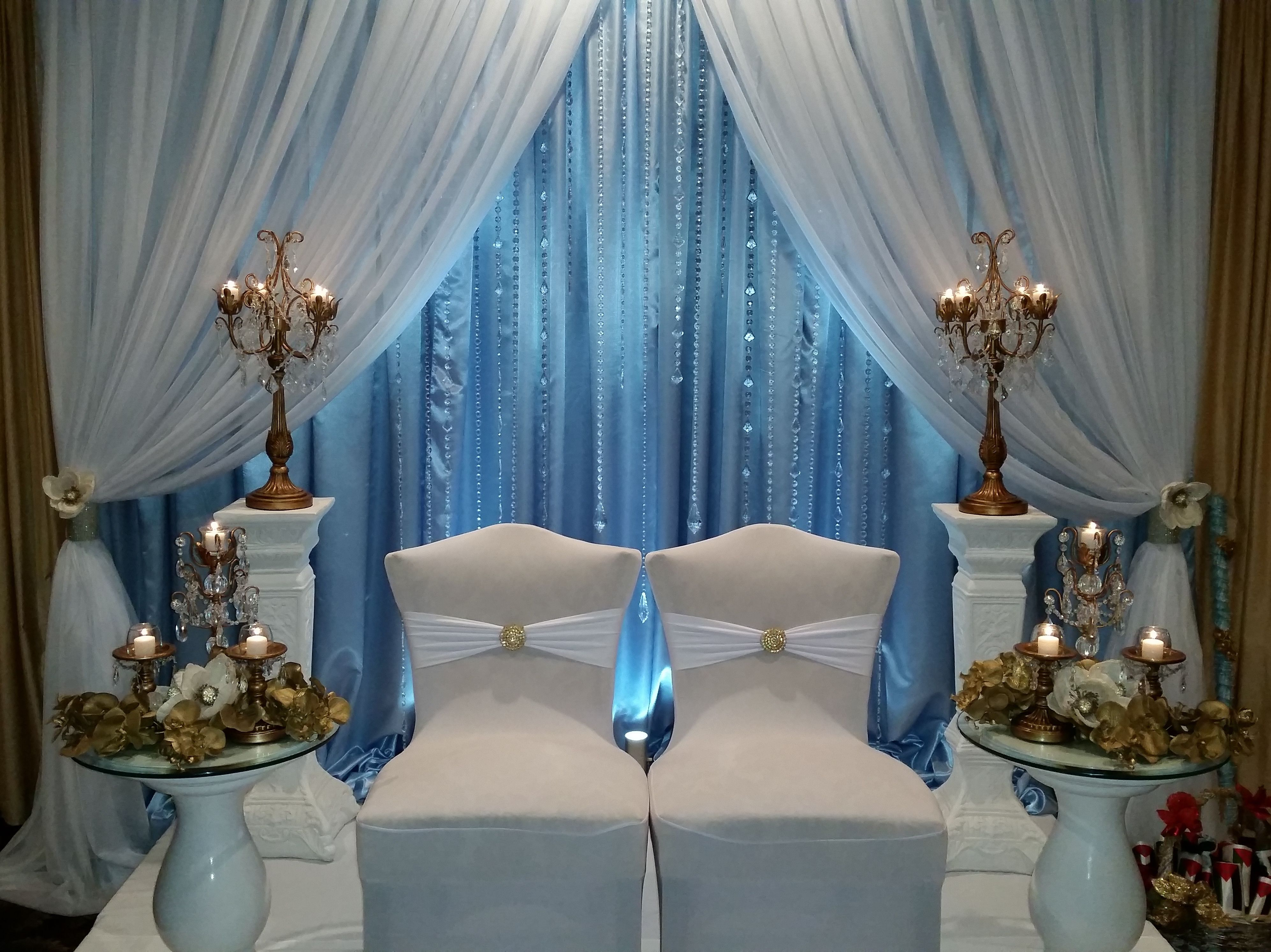 baby blue wedding chair covers stickley dining room plans bride and groom stage satin sheer white