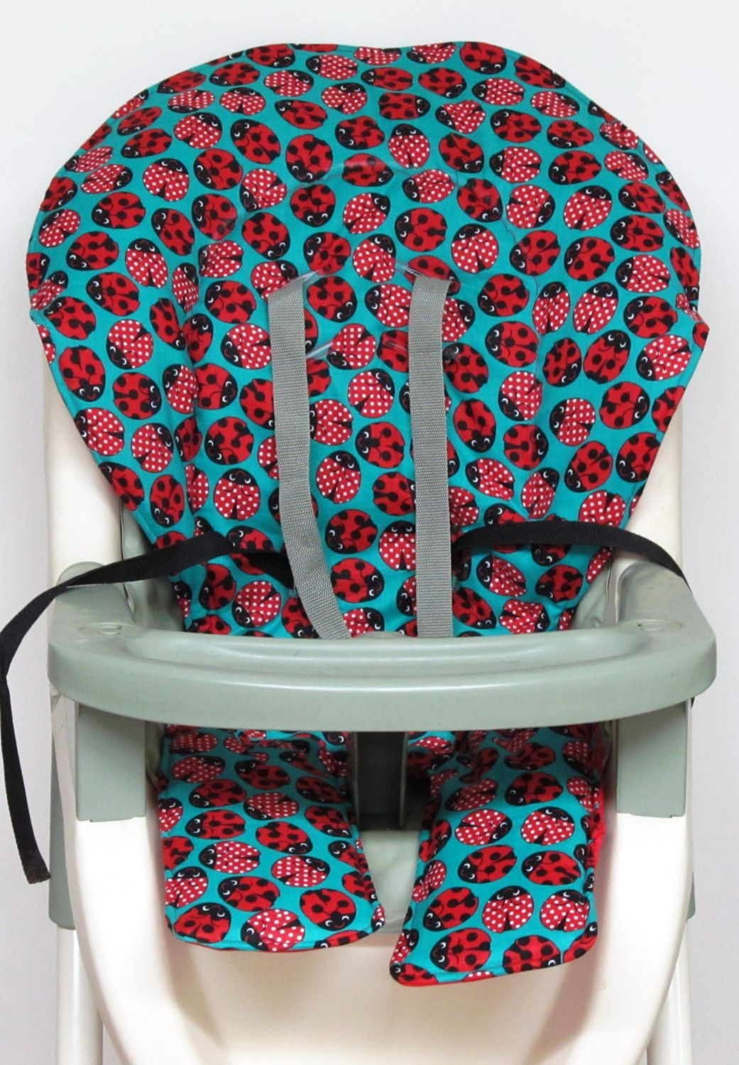 graco high chair cover replacement pop up chairs ship ready pad cushion ladybug on aqua by sewingsilly etsy