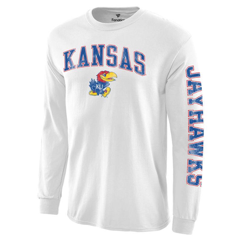74408c25 Men's White Kansas Jayhawks Distressed Arch Over Logo Long Sleeve Hit T- Shirt