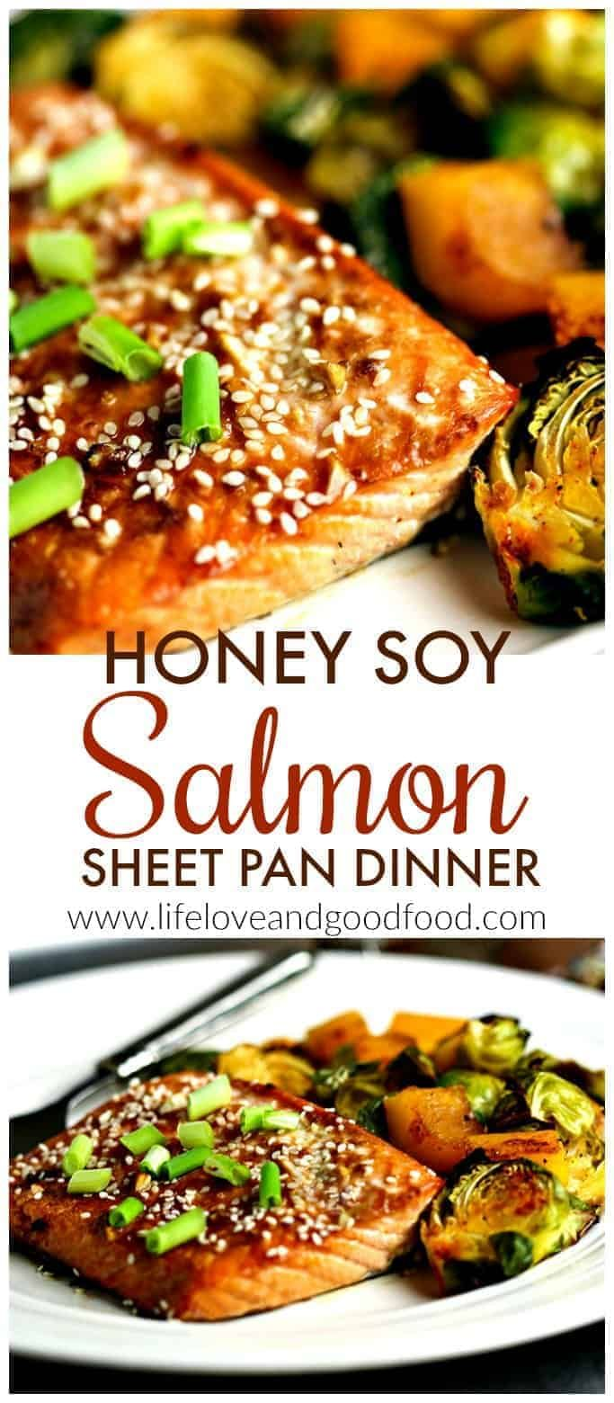 Photo of Honey Soy Salmon Sheet Pan Dinner.