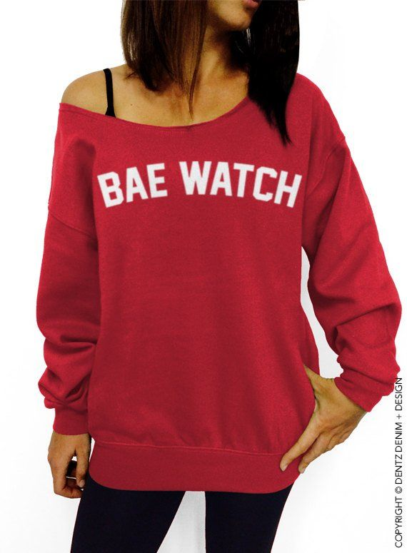 24279b0e4c Beach Sweatshirt, Bae Watch, Bae Shirt, Women's Clothing, Off the Shoulder,  Red, Slouchy Sweatshirt,