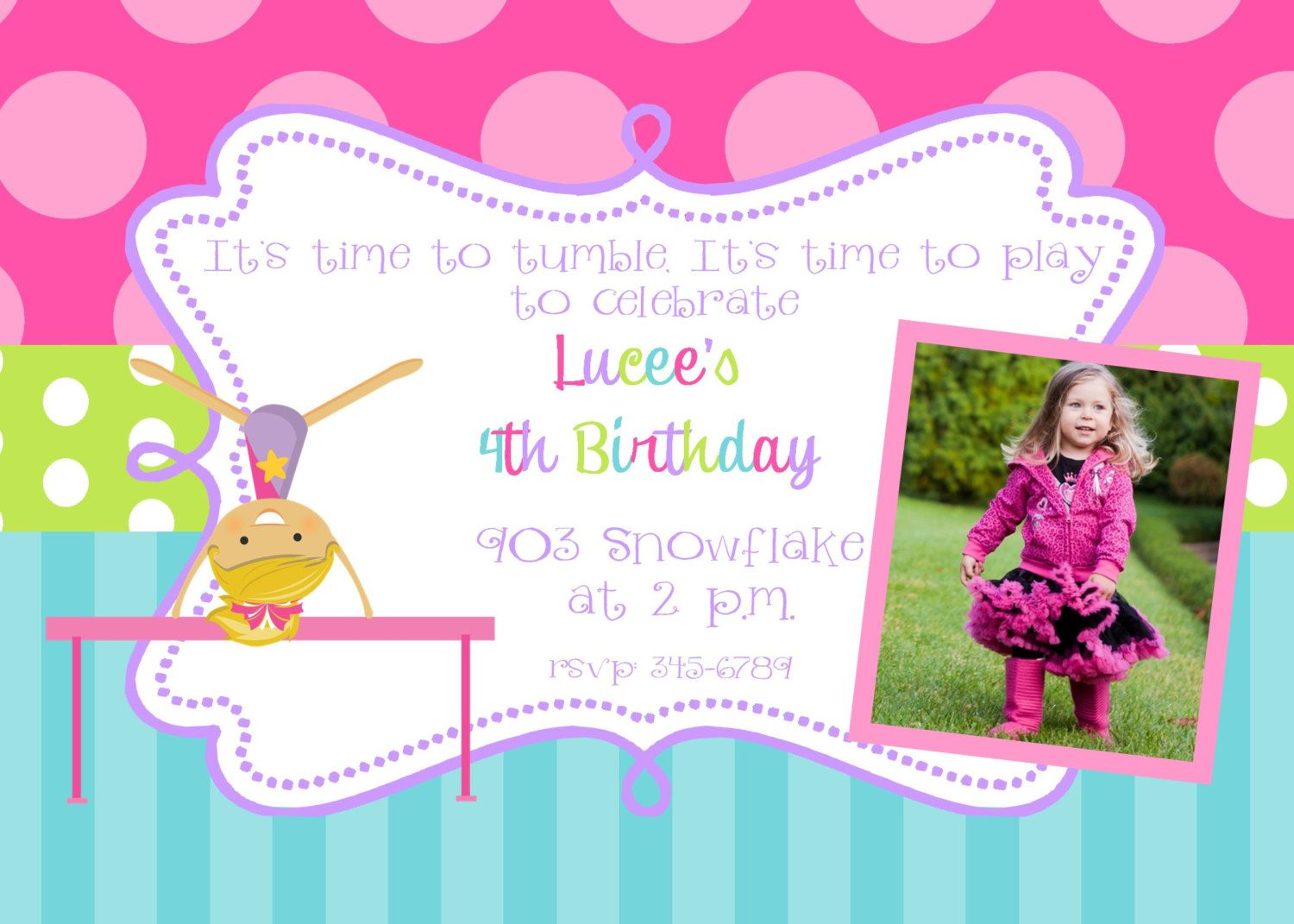 12 Gymnastics Birthday Party invitations with by noteablechic